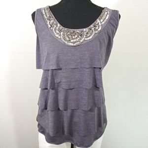 Layered scoop neck sequined top size M
